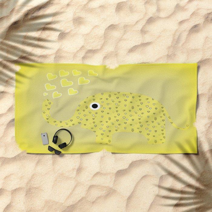 I Love Elephants Beach Towel