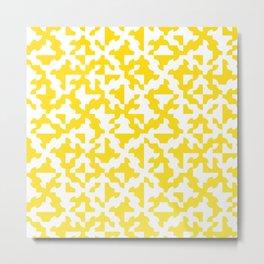 Drunken Path Pattern - Lemon Yellow Metal Print