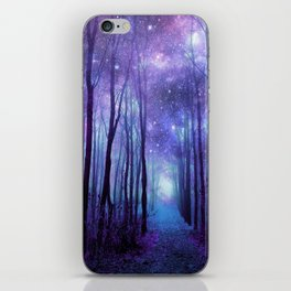 Fantasy Forest Path Icy Violet Blue iPhone Skin