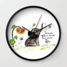 Friends are Loved by All - Baby Elephant Sunflower Butterflies Art by Annette Bailey Wall Clock
