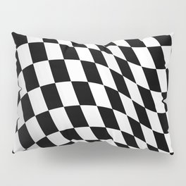 Wavy checkered racing flag, black and white Pillow Sham