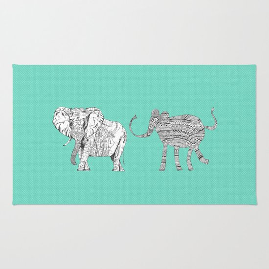 two ways to see one elephant Rug