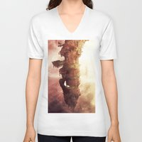 plane V-neck T-shirts featuring Celestial Plane by Bighand illustration