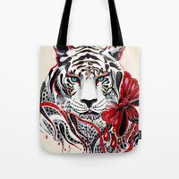 tiger Tote Bags featuring White Tiger by Felicia Atanasiu