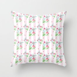 Ditsy Rose on pink stripes Throw Pillow
