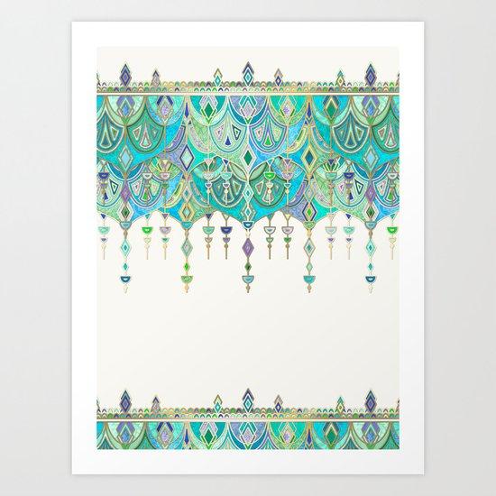 Art Deco Double Drop in Jade and Aquamarine on Cream Art Print