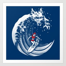 Little Red Surfing Hood Art Print