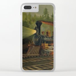 Night Scene on the NY Central Railroad (Currier & Ives) Clear iPhone Case
