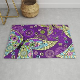 Colorful Butterflies and Flowers V5 Rug