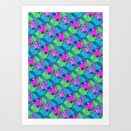 Tessellated Parrots Pink Art Print