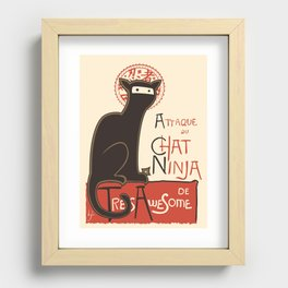 A French Ninja Cat (Le Chat Ninja) Recessed Framed Print