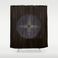 skyrim Shower Curtains featuring Shield's of Skyrim - Downstar by VineDesign