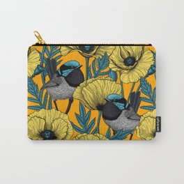 Fairy wren and poppies in yellow Carry-All Pouch