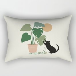 Cat and Plant 13: The Making of Monstera Rectangular Pillow
