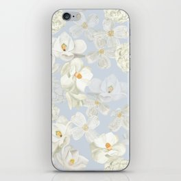 White Floral on Pale Blue iPhone Skin