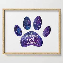 Adopt don't shop galaxy paw - purple Serving Tray