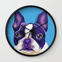 boston terrier Wall Clocks featuring Boston Terrier by Blue Giraffe Art Works