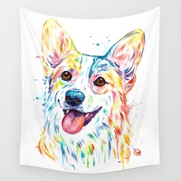 Corgi Colorful Watercolor Pet Portrait Painting Wall Tapestry