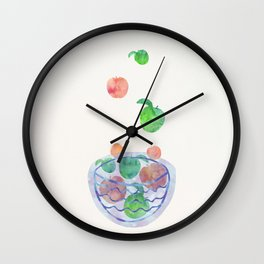Red and Green Magic Apples in the Bowl Wall Clock