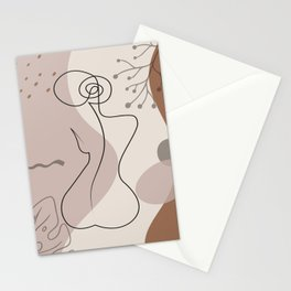 Set of naked woman sitting back one line. Poster cover. Minimal woman body. One line drawing. No 1/3 Stationery Cards