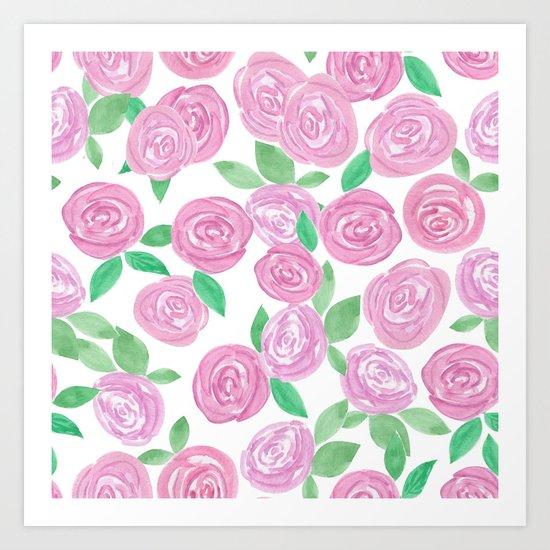Pale pink roses . Watercolor . Art Print