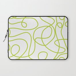Doodle Line Art | Bright Lime Green Lines on White Laptop Sleeve