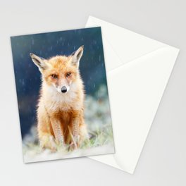 I Can't Stand the Rain (Red Fox in a rain shower) Stationery Cards