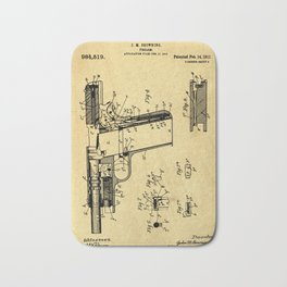 Browning Firearm Support Patent Drawing From 1911 Bath Mat