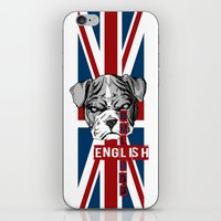 english bulldog iPhone & iPod Skins featuring English Bulldog by Det Tidkun