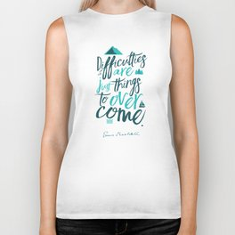 Shackleton quote on difficulties, illustration, interior design, wall decoration, positive vibes Biker Tank