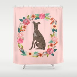 italian greyhound floral wreath dog breed pet portrait pure breed dog lovers Shower Curtain