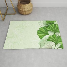 Green Background with Leaves of Ginkgo Biloba Rug