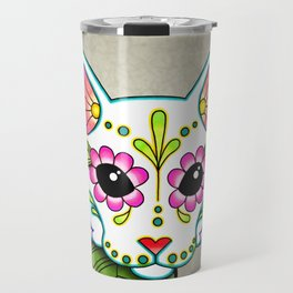 White Cat - Day of the Dead Sugar Skull Kitty Travel Mug