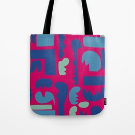 African Art Pattern on Rubine Red Tote Bag