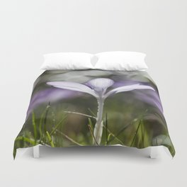 Blue Spring Flower  Crocus - Floral Duvet Cover
