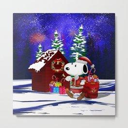 Santa Claus at the Dog World iPhone 4 4s 5 5c 6, pillow case, mugs and tshirt Metal Print