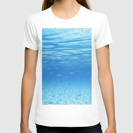 School of Fish Swimming over Sand Bottom in the Tropical Sea T-shirt