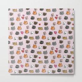 cats pattern pink Metal Print