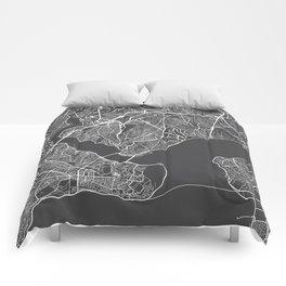 Istanbul Map, Turkey - Gray Comforters