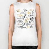 black and gold Biker Tanks featuring Inked Fish – Black & Gold by Cat Coquillette