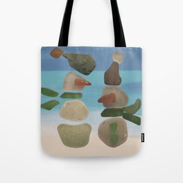 Finding Unexpected Sea Glass at the Beach #snowman #seaglass Tote Bag