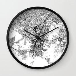 Helsinki White Map Wall Clock