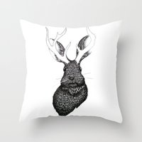 jackalope Throw Pillows featuring The Jackalope by ECMazur