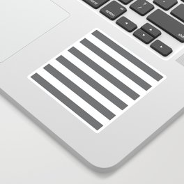 Simply Striped in Storm Gray and White Sticker