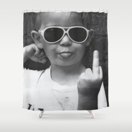 Boy Sticking His Tongue Out Shower Curtain
