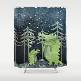 crocodoodle stars Shower Curtain