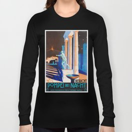 Pompei at Night - Vintage German Travel Ad Long Sleeve T-shirt