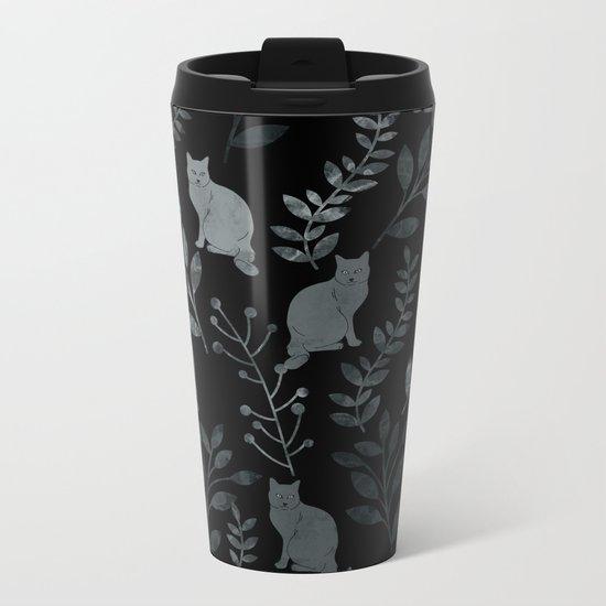 Watercolor Floral and Cat III Metal Travel Mug