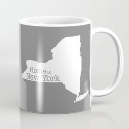 Home is New York - State outline on gray Coffee Mug