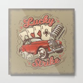 Vector grunge vintage illustration, poster with four card aces, retro car and old microphone Metal Print